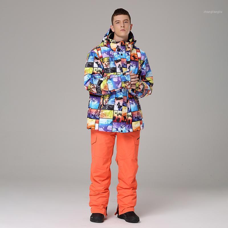 Kayak ceket pantolon erkekler termal kış kar kayak takım elbise adam su geçirmez snowboard giyim erkek kayak snowboard set1