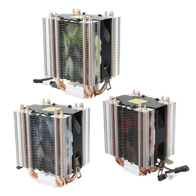 PC Ordinateur de refroidissement LED du ventilateur 4 caloduc CPU Cooler silencieux ventilateur de refroidissement silencieux dissipateur de chaleur refroidi par eau pour PC ordinateurs