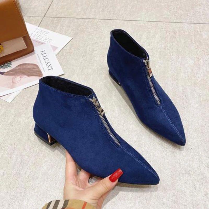 2020 моды сапоги женские зимние туфли заостренный носок женщин ботильоны сексуальные дамы вечеринка обувь квадратные каблуки черный синий A2976 # F84G