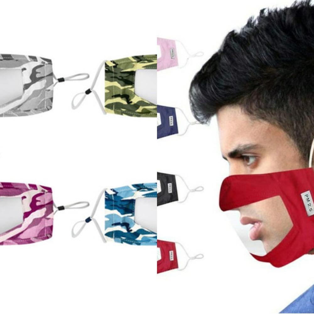 Máscara de polvo visible Boca reutilizable cara cubierta que aisla lavable cara con Clear ventana de PVC adultos sordos con problemas de audición gancho personas Elasticidad