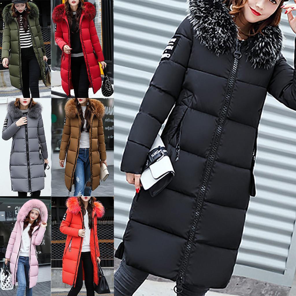 Neue design winter frauen solide beiläufige dicke warme schlanke jacke mantel mantel mantel damen im freien winddicht down mäntel parkas