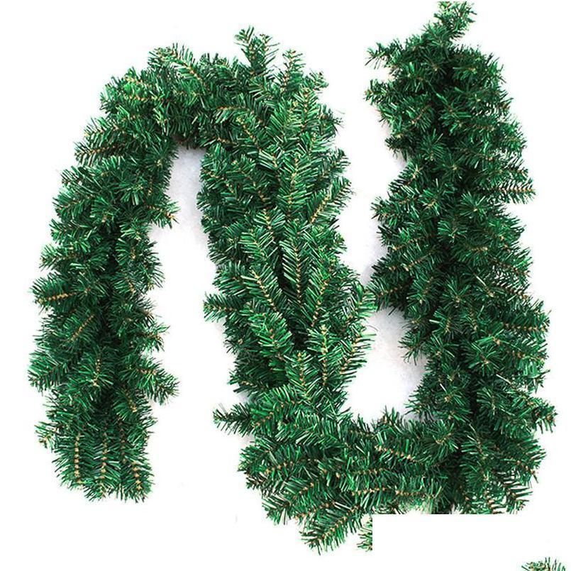 Novo Design 2 .7m (9FT) Artificial Verde Grinaldas Garland Garland Lareira Grinalda para Xmas Ano Novo Home P SQCGSG WWPHME