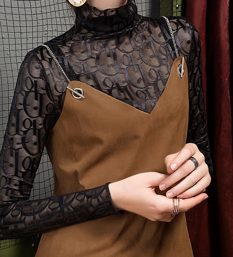 Womens Hollow out modo di stile a maniche lunghe sexy Shirts Partito Streetwear Nightclub abbigliamento hip hop progettista lettera T shirt donna autunno