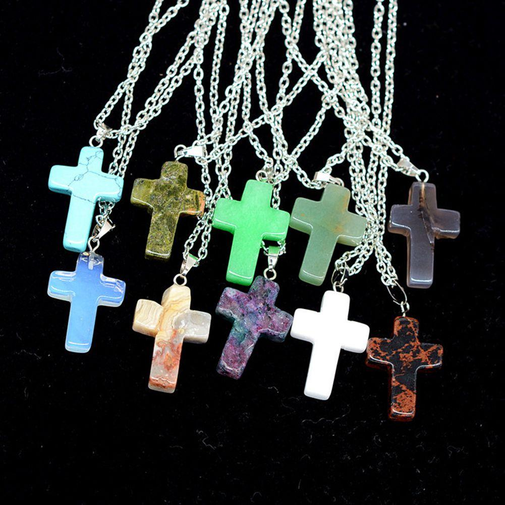 12pcs Necklace Pendant Cross Beads Quartz Natural Stone Pendants Statement Choker Necklace 45cm+5cm Quartz Beads Pendants Leather Choker