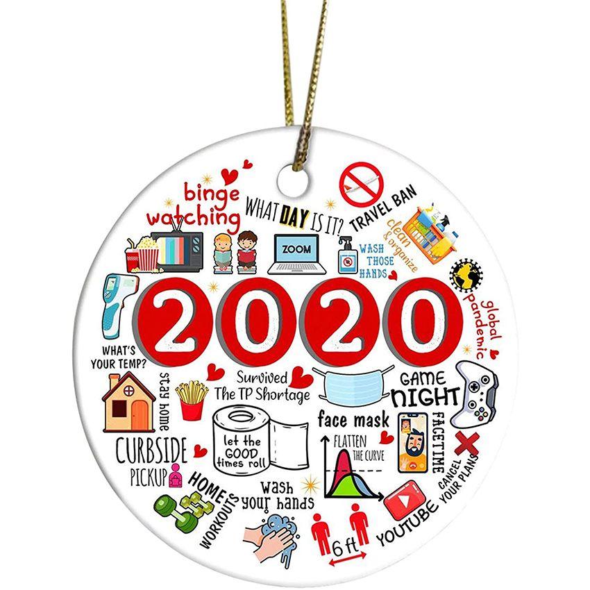 Boule de Noël 2020 / Noël Décorations 2020 Année to Forget Boule de Noël 2020 Père Noël Ornements Ornement de paix de Noël KI89