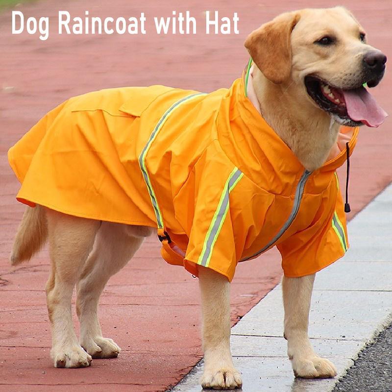 Cão Raincoat Pet Chuva Casaco para roupas de cachorro Hoodies com chapéu Reflexivo fita impermeável casaco de chuva para médio grande cão slicker 201015
