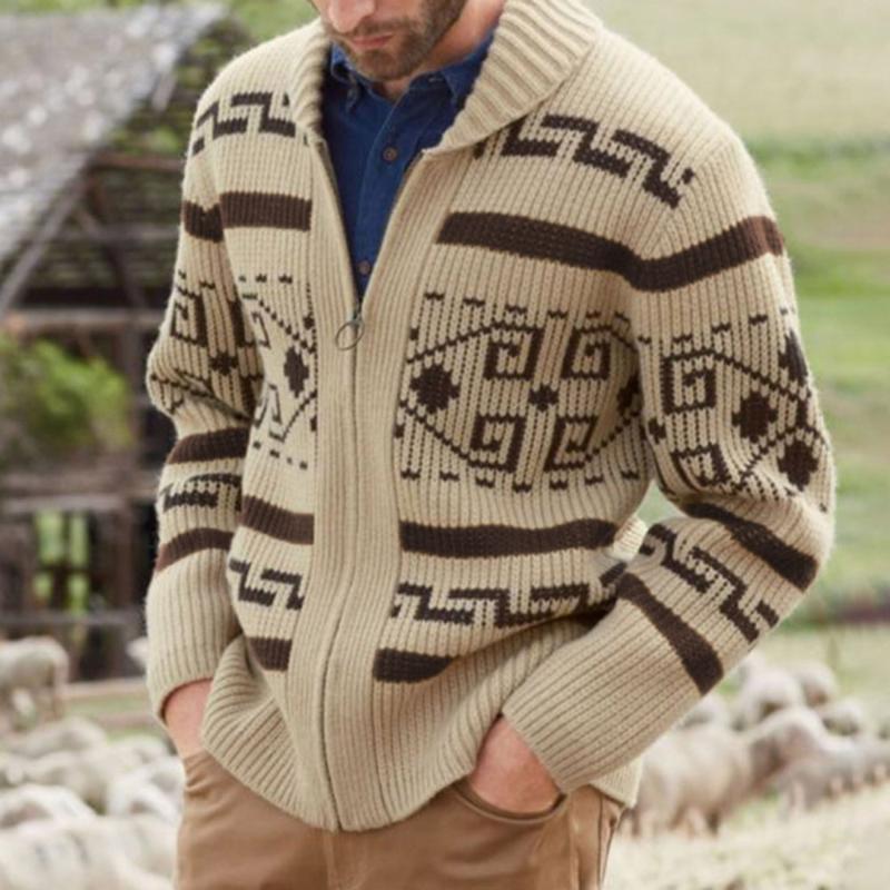 Allentato autunno Uomo Stampato Maglione magliette casual geometrica a maglia maschile cerniera della tuta sportiva 2020 morbide Uomo Abbigliamento Pullover Ponticelli
