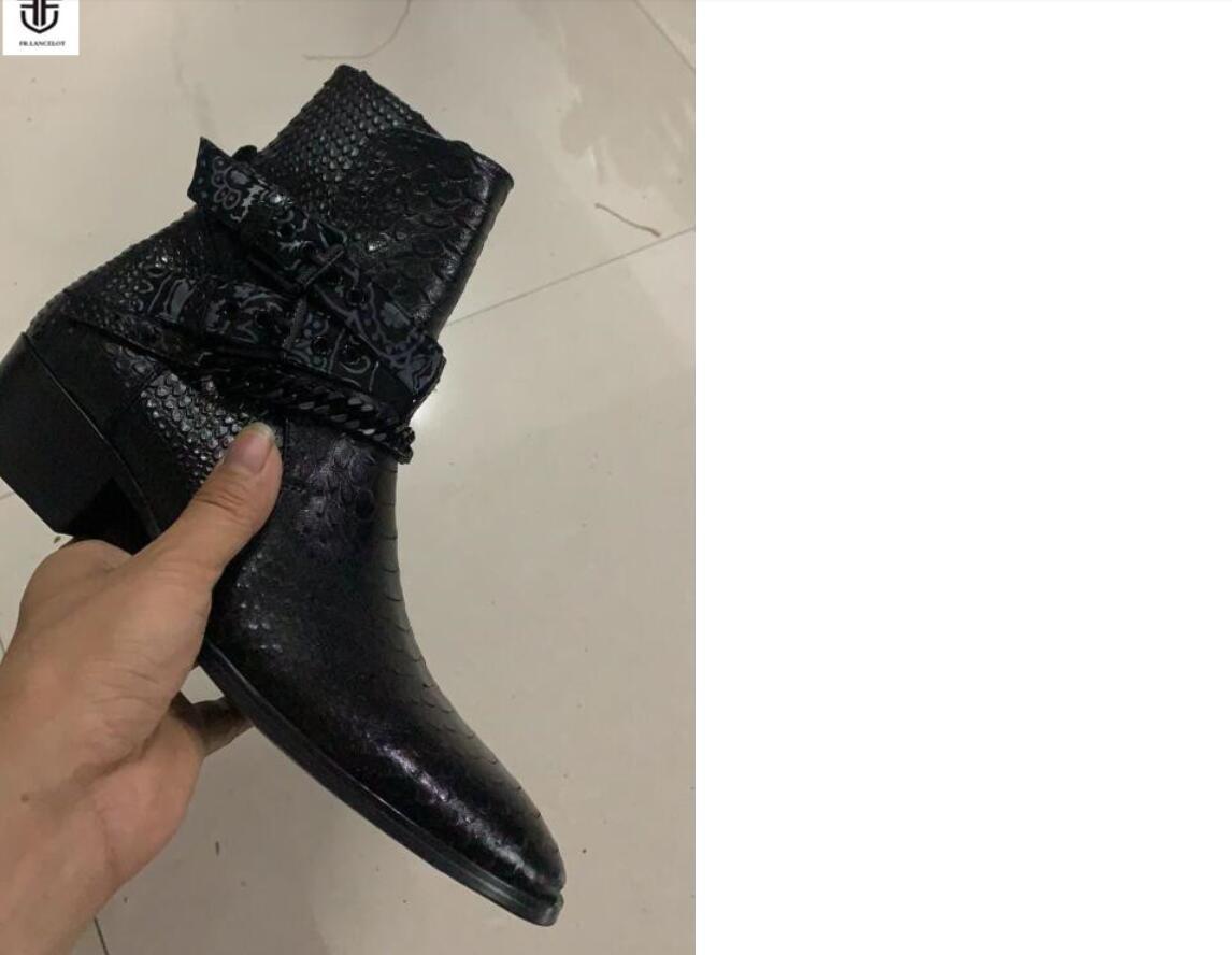 2020 Neue Männer Stiefel Schlangendruck Leder Stiefeletten schwarz Ketten Booties männlich mujer botas Parteischuhe Männer