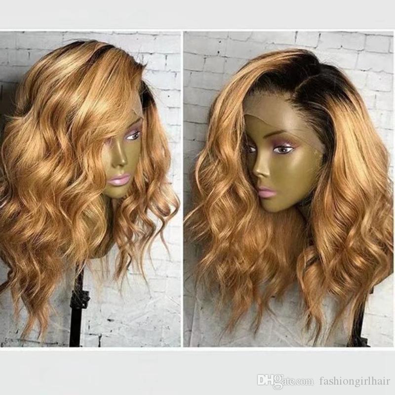 Parte lateral Platinum Loira Laço Renda dianteira 14 polegadas Ombre peruca com raízes escuras resistentes ao calor Sintético curto Bob Perucas para mulheres negras