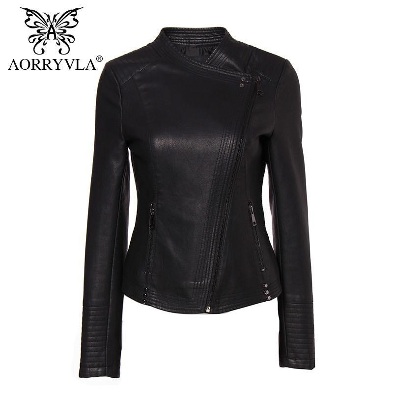 Neue Art und Weise Lederjacke für Frauen Frühling 2020 schwarzen Kunstleder-Jacken-dünner Frauen-Moto Biker Zipper-Jacke Neue Kollektion Y1112