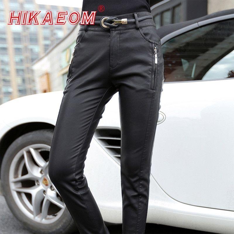 Горячие продажи мода толстые женщины искусственные кожаные мотоцикла брюки с высокой талией женщины карандаш брюки худые брюки для женщин (без ремня) Y200418