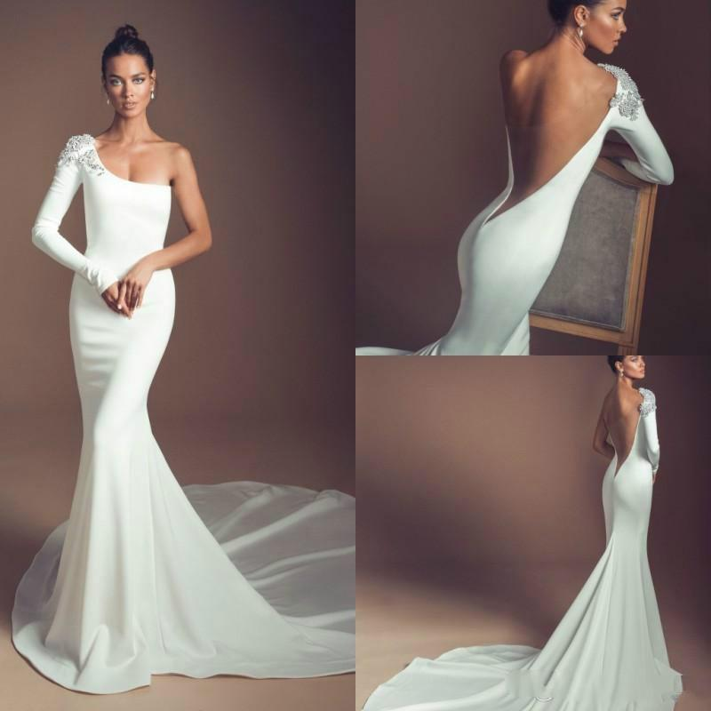 Elihav Sasson 2020 Mermaid Wedding Dresses One Shoulder Long Sleeves Beads Crystal Backless Bridal Gowns Plus Size Beach Bohemia Dress