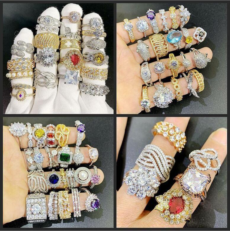 24pcs Lotto Mix Designs Gemstone Anello esagerato Micro PAVE Zircon Crystal 18k Real Placcato oro anelli grossista