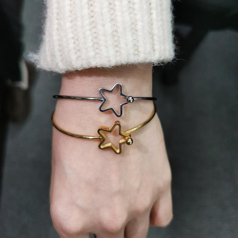 Браслет звезды браслет золотом цвет из нержавеющей стали браслеты на руке ручной браслеты для женщин шарм женские пары ювелирных изделий аксессуары BFF