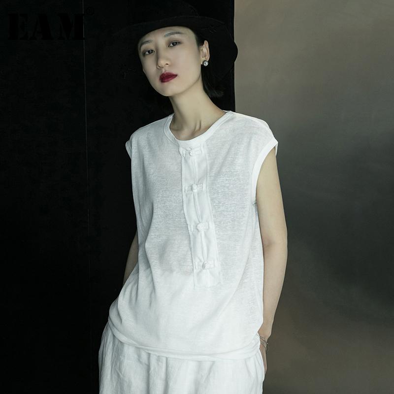 [EAM] Women White Brief Big Size Stitch Buckle T-shirt New Round Neck Sleeveless Fashion Tide Spring Summer 2020 1X015