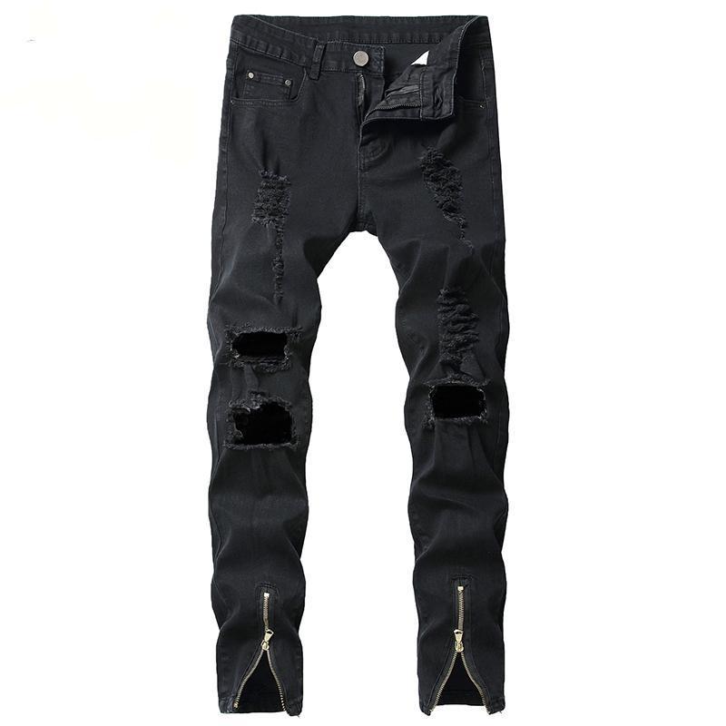 الرجال جينز الرجال ممزق الدينيم العلامة التجارية الشهيرة سليم تناسب السراويل خدش الهيب هوب مرونة مع سستة الأزياء
