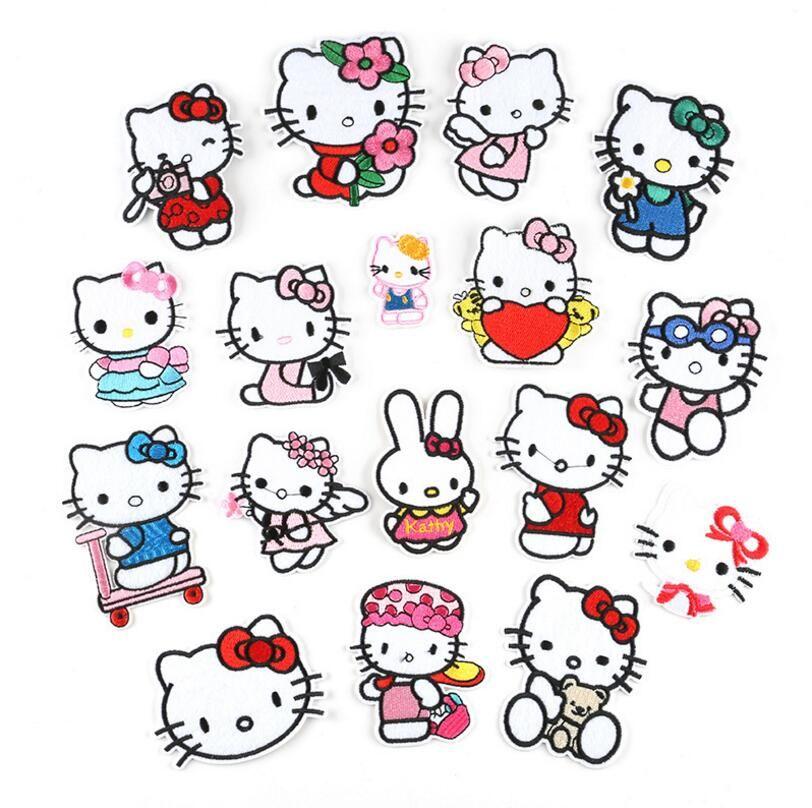 Dibujos animados gato syle bordado parches accesorios accesorios apliques rayas para ropa hierro en ropa coser en la bolsa de tela parche