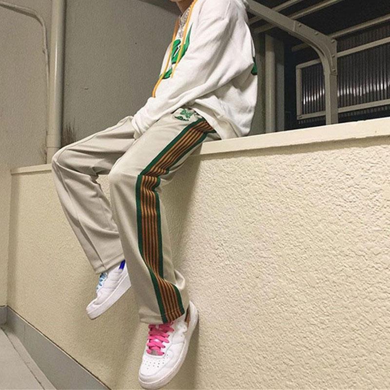 AWGE Renk Çizgili Sınır Sweatpants Erkekler Kadınlar Kelebek Nakış Pantolon AWGE Yüksek Kalite İpli Koşucular Pantolon