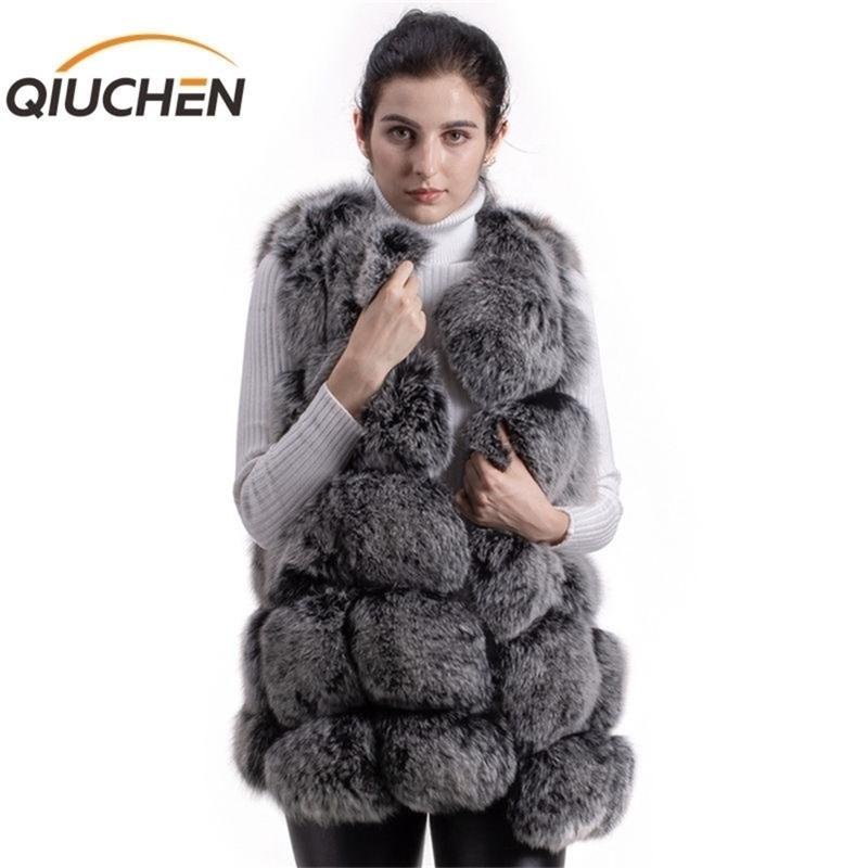 Qiuchen pj8046 raposa inverno grosso 70 cm longo o-pescoço mulheres moda alta qualidade real colete de pele quente venda y201012