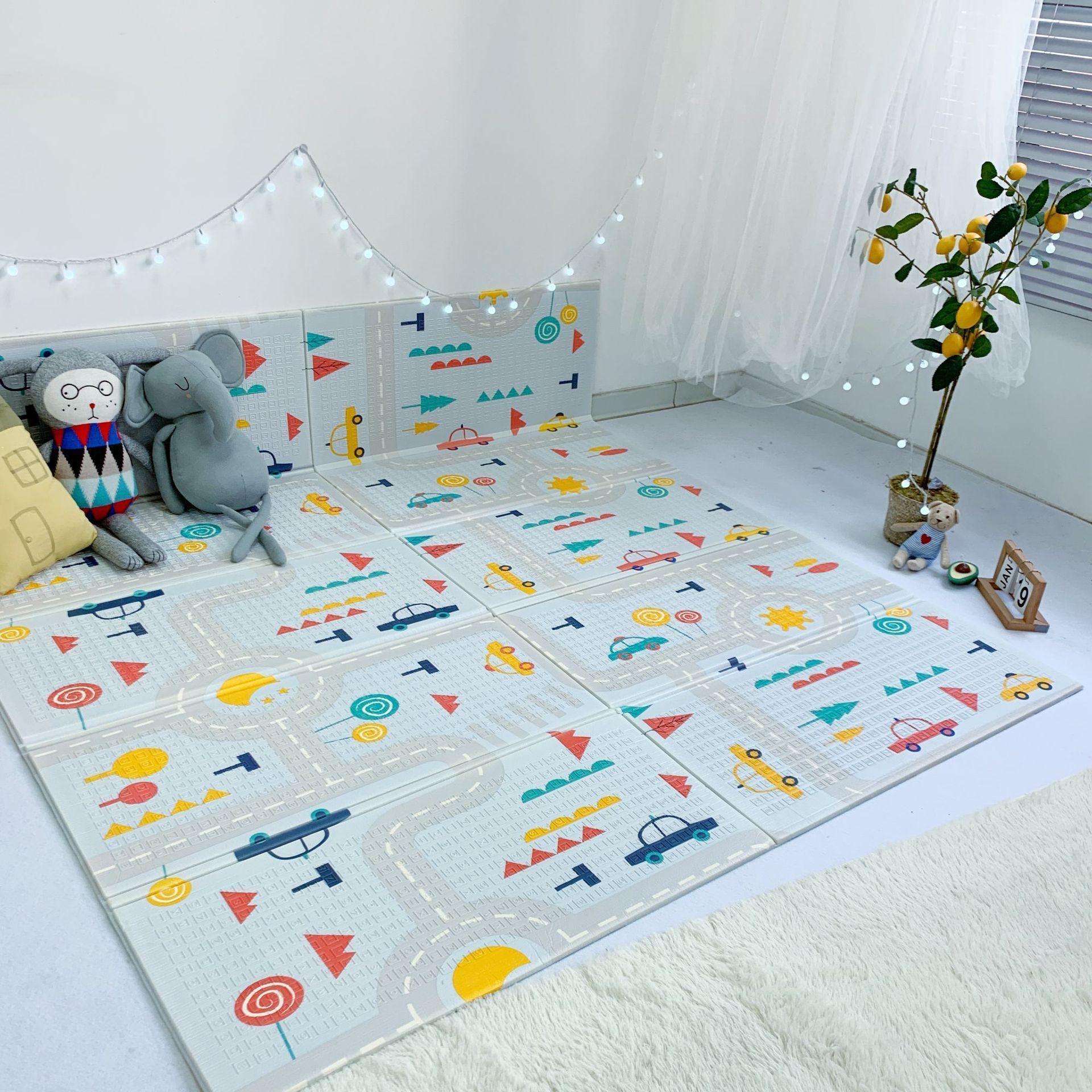 Pädagogische Matte Faltbare Cartoon Baby Spielmatte XPE Schaum Puzzle Kinder Teppich Baby Klettern Pad Kinder Teppich Baby Spiele Matten LJ201118