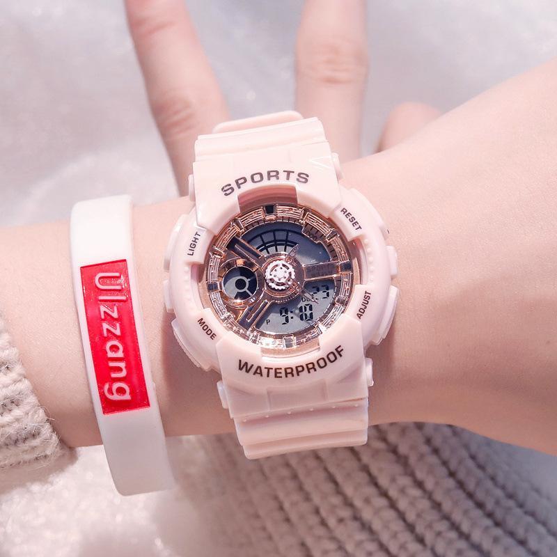 Fashion Women Sport Watches Waterproof Trendy Men Ladies Digital Watch Top Brand Rose Gold Lover's Gift Outdoor Quartz ClockQ0108