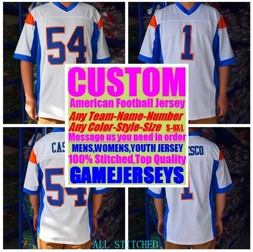 Custom American football Jerseys For Mens Womens Youth Kids BASEBALL ICE HOCKEY BASKETBALL Customized 2021 soccer jersey blue 4xl 5xl 6xl