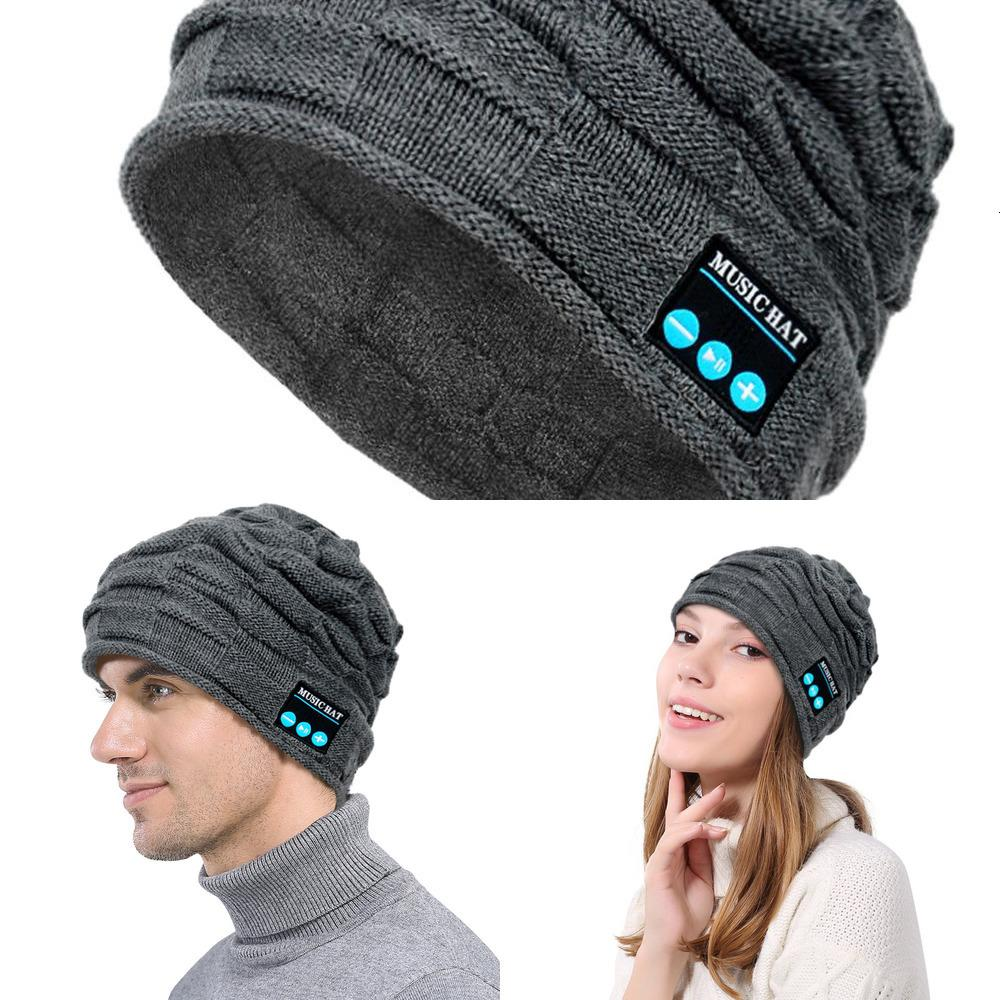 Level Top Stretch Skull Cap Windproof Winter Hat Bluetooth Beanie with Custom Embroidery U374