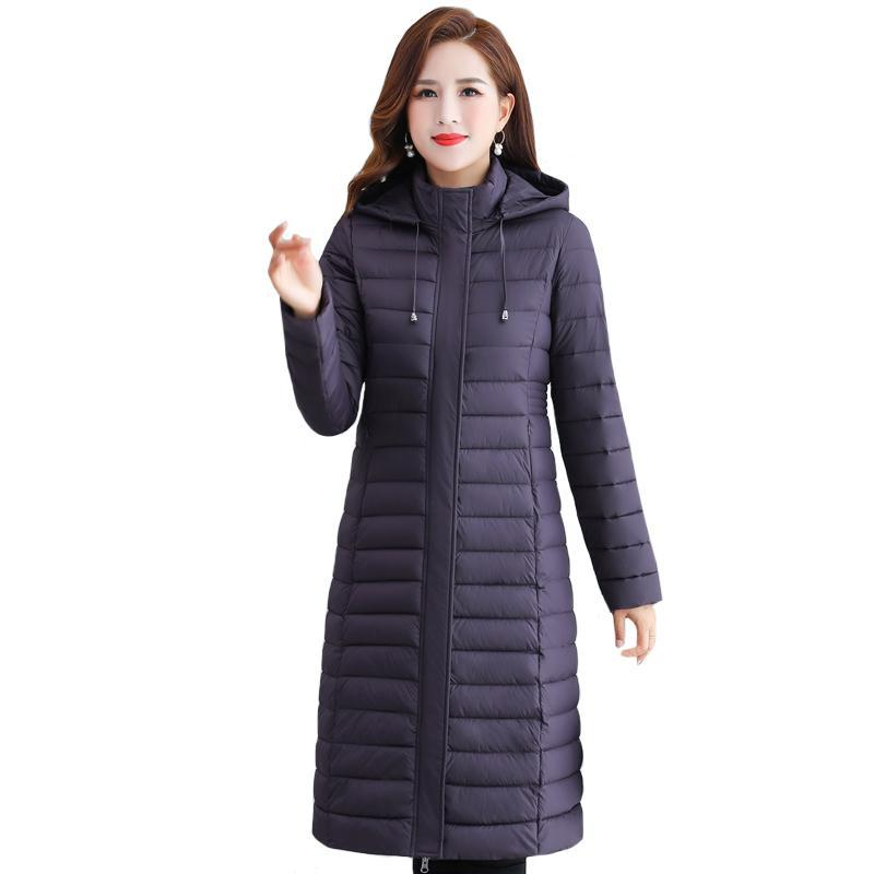 Parkas de las mujeres 2021 Winter X-Long Well con capucha Slim Slim Casual Plus Tamaño Mujer Chaqueta Femenina Soporte Sólido Collar de algodón grueso Mujer Parka XL-5XL