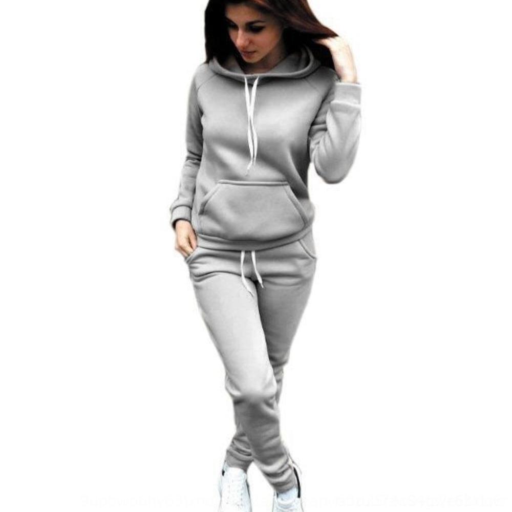jhQyA Damen Fleece Fleece Herbst und Winter Suitsports Frauen neue Herbst und Winter Anzug neue Suitsports w2sDO Anzug