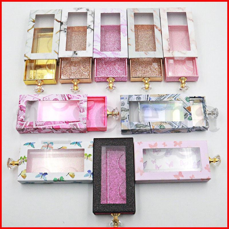 Multi Color Marbre Papillon Dollars Impression diamant Poignée de tiroir Cils boîte d'emballage Cils 3D Mink Emballage Case avec plateau