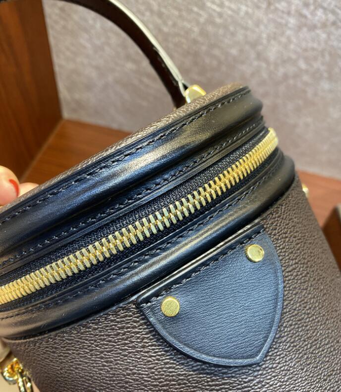 Bolsa de caja de tambor de cosméticos Recubrió una recubrimiento One Petite Reverse Beauty Belleza extraíble Bolsas de correa de cilindro Mango de lienzo Hombro Crossbody Mini Ethxx