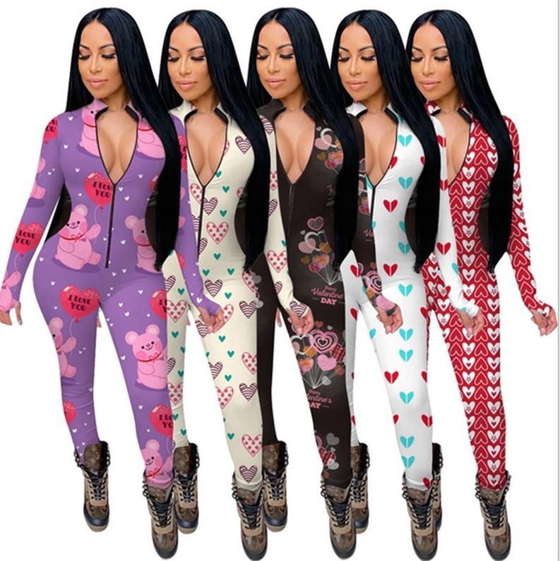 Femmes Jumpseauts Rompers Manches longues Col V-Col Vêtements de nuit PlaySuit BodySuit Dames Saint Valentin Day Pajama Oneieses 5 couleurs E122311