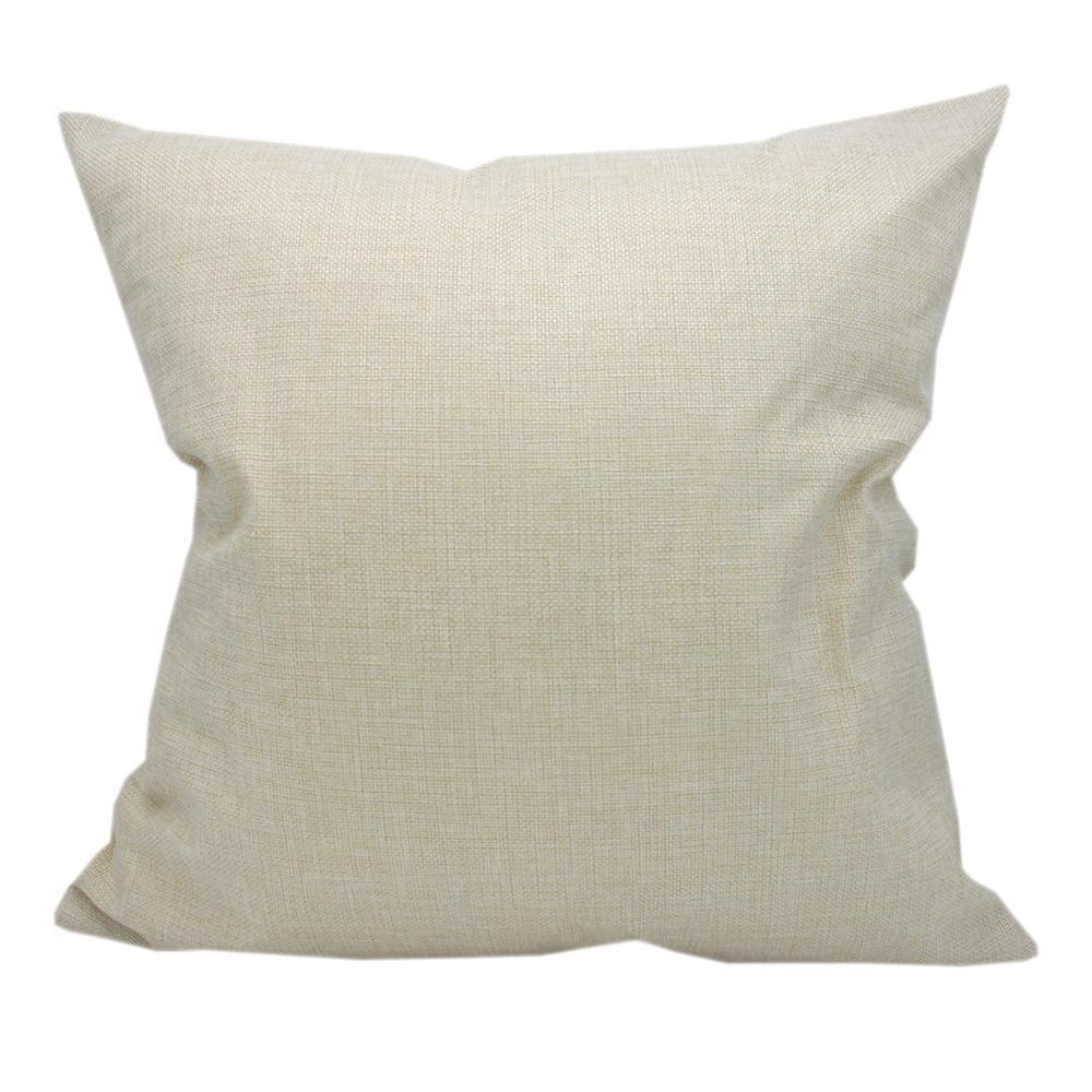 Cajas de almohadas de sublimación en blanco delgadas al por mayor beige 100% poliéster similar a la ropa de lino cubiertas utilizadas para la impresión de transferencia térmica de calor