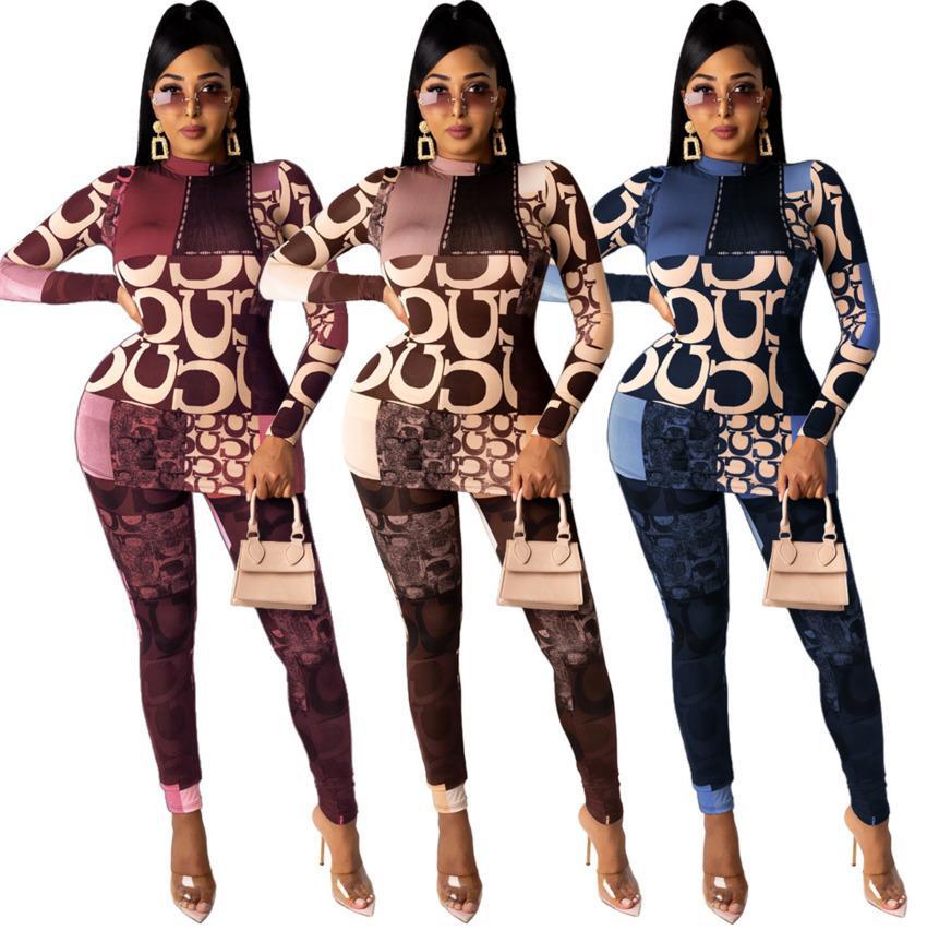 Дизайнеры повседневные женщины спортивная зимняя зима 2020 мода с длинными рукавами высокий воротник с одним воротником из двух частей набор ночной клуб одежды