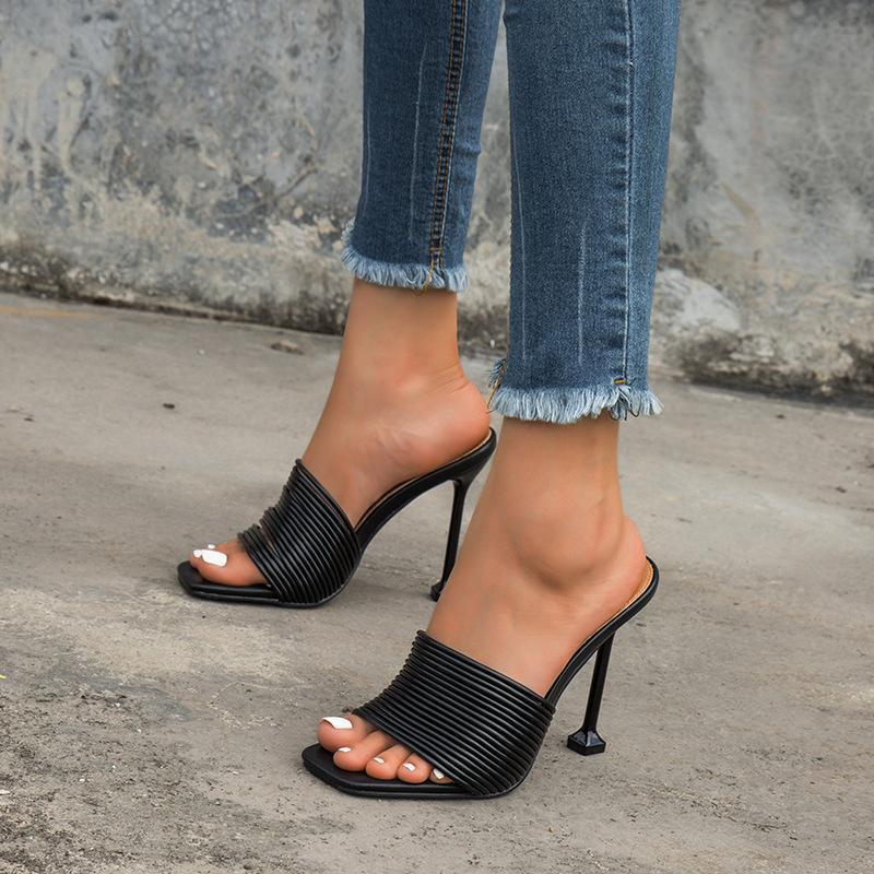 Verão mulheres chinelos festa sexy festa de salto alto sapatos mulher saltos sandálias fêmea mula quadrado toe slides senhoras sapatos romanos d56