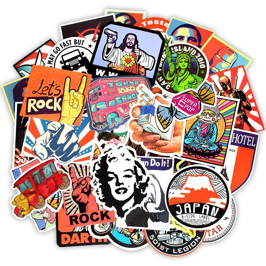 50pcs/Lot Retro Style Sticker Graffiti Travel Funny JDM Stickers for DIY Sticker on Suitcase Luggage Laptop Bicycle Skateboard Car Stickers