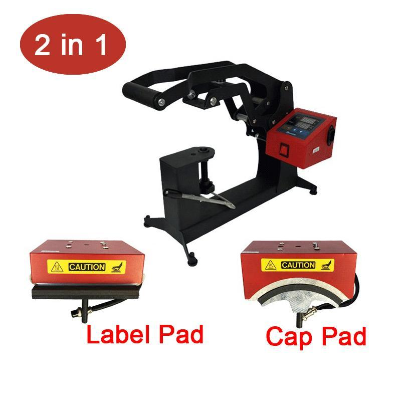 2 in 1 Combo Digital Cap Heat Press Machine 15x15CM Logo Label Printing Machine DIY Custom Sublimation Printer
