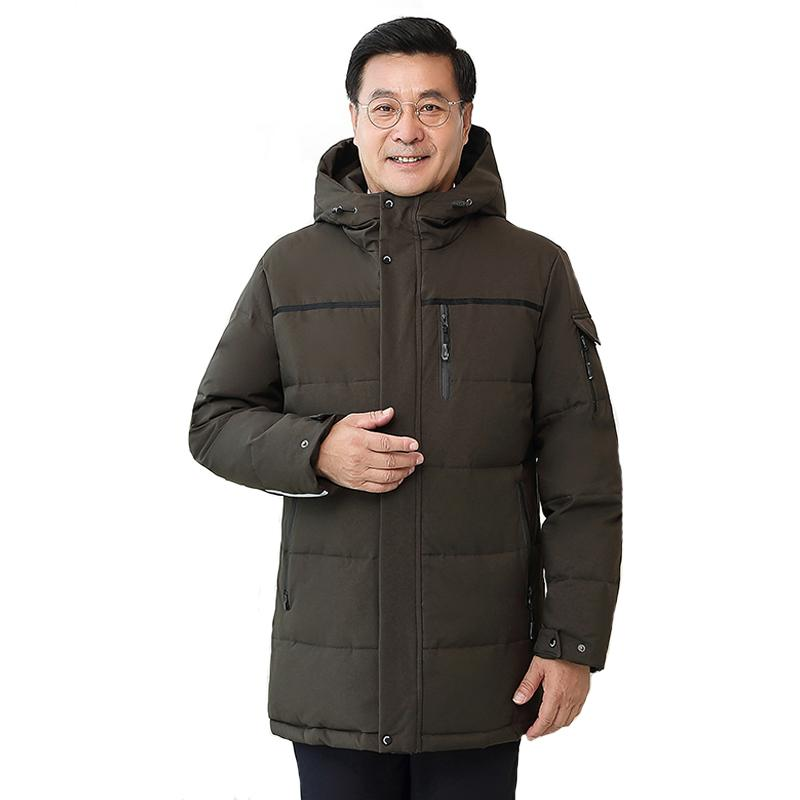 -25 Degree Middle-aged Men Winter Down Jacket For Father Plus Size 4XL White Duck Down Coat Hooded Thick Windproof Jacket Men 201022