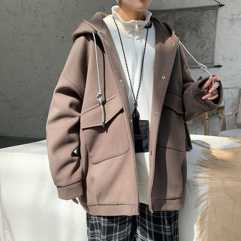 Incappucciato allentato maschile in lana cappotto 2020 New Winter Casual Oversize cappotti coreana Streetwear classico uomo Giacche