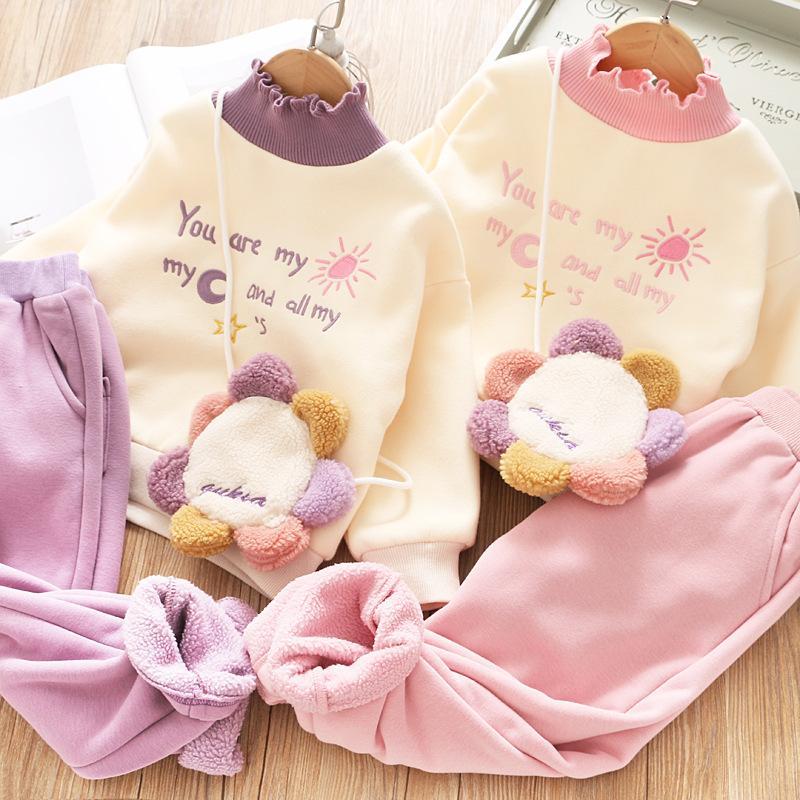 Vieeoease Girls Christmas Sets kids Clothing 2020 Fall Winter Embroidery Fashion Long Sleeve T-shirt + Pants 2pcs CC-779
