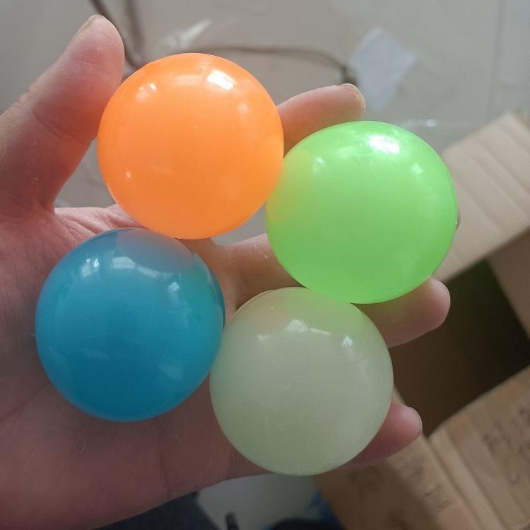 Decke kleber wandball leuchtende glühen in der dunklen quicky anti stress bälle dehnbare weiche squeeze erwachsene kinder spielzeug party geschenk
