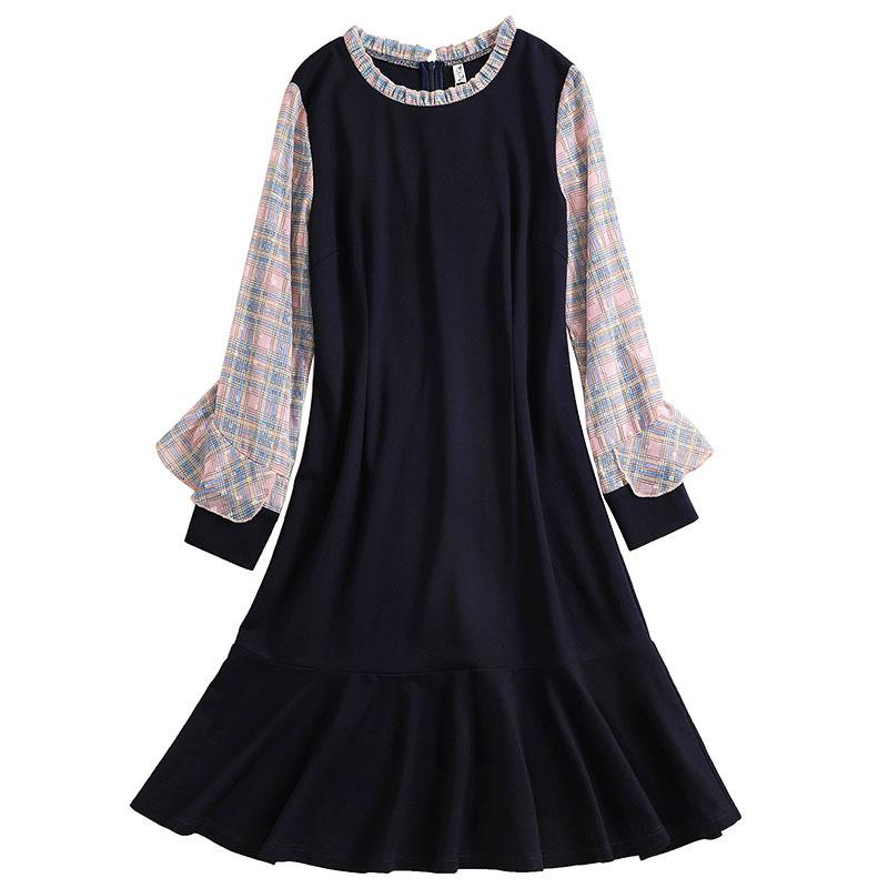 Damenbekleidung Frühling 2020 Neue modische Royal Blue Long Sleeve Plus Größe 5XL Big Hem Lotus Blatt für Büro Dame