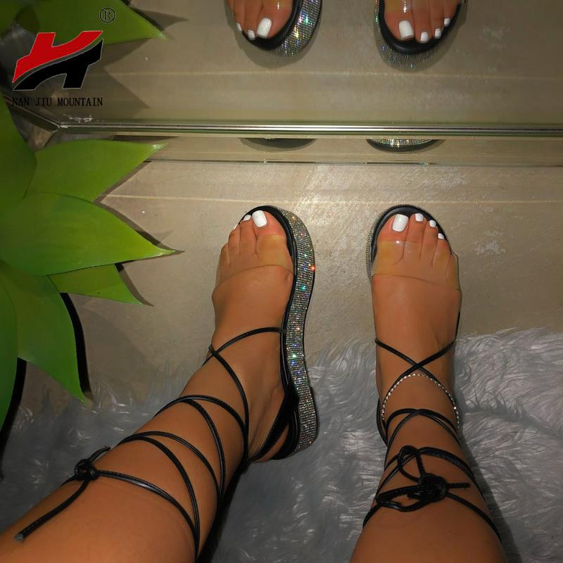 NAN JIU MOUNTAIN 2020 Platform Sandals Summer Women Ankle Straps Handmade Rhinestones Open Toe Sandals Plus Size 35-43 Y200702