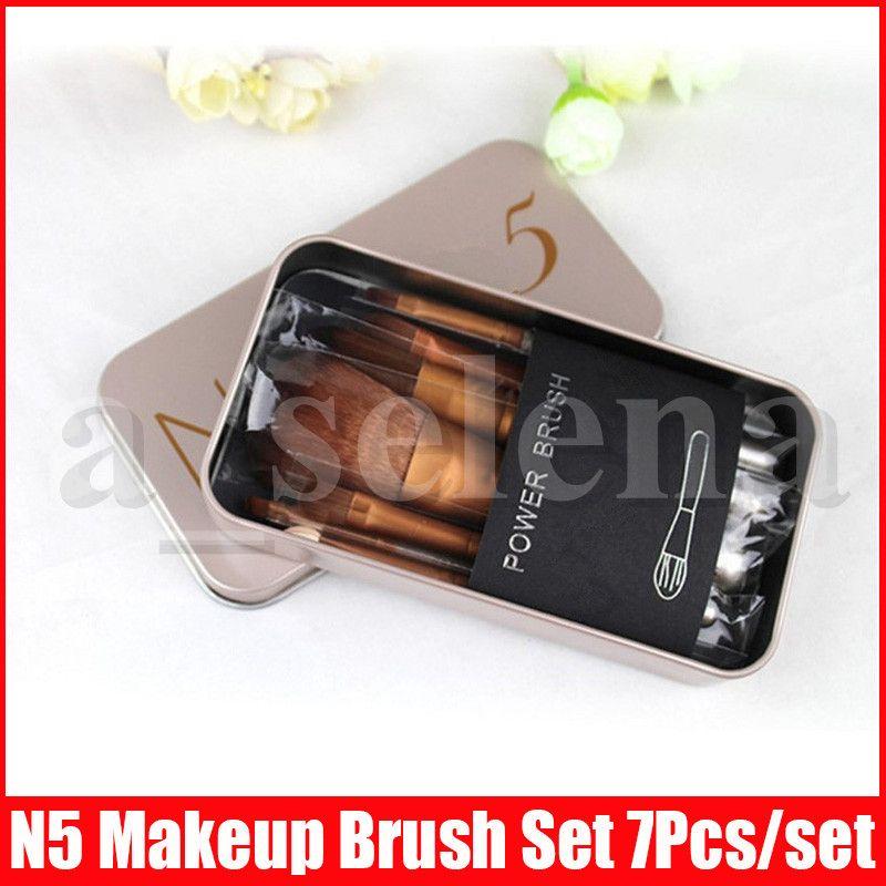 N5 메이크업 브러쉬 세트 7PCS / 설정 파운데이션 브러쉬 세트 전문 브러쉬 brocha 드 maquillaje와 금속 상자 포장을 확인