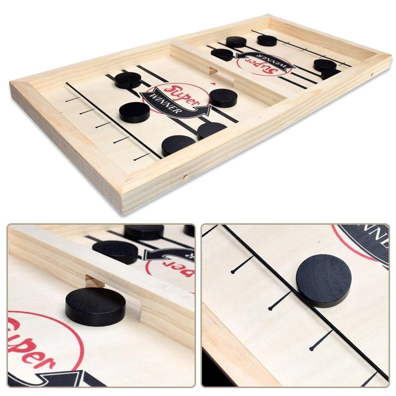 Wooden Sling Puck Slingpuck Table Board Game Funny Bumper Chess Parent-child Interactive Kids Toys Portable Table Games Family
