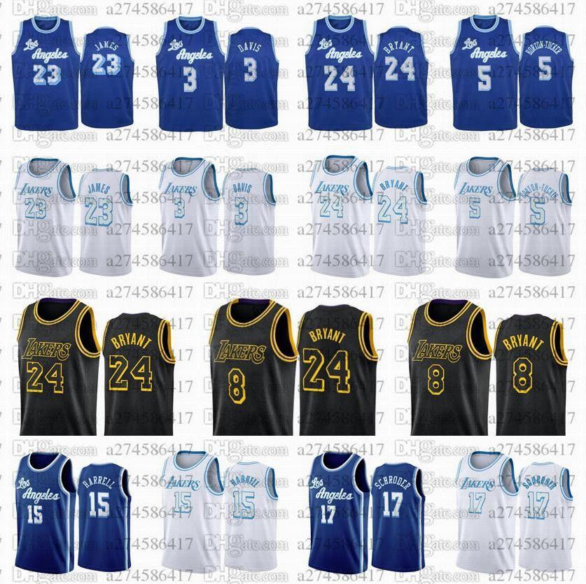 Uomini 2020-21 Los.Angeles.Lakers.Kobe.Bryant.23 James 3 Davis 5 Tucker 15 Harrell 17 Schroeder Black Mamba City Jersey