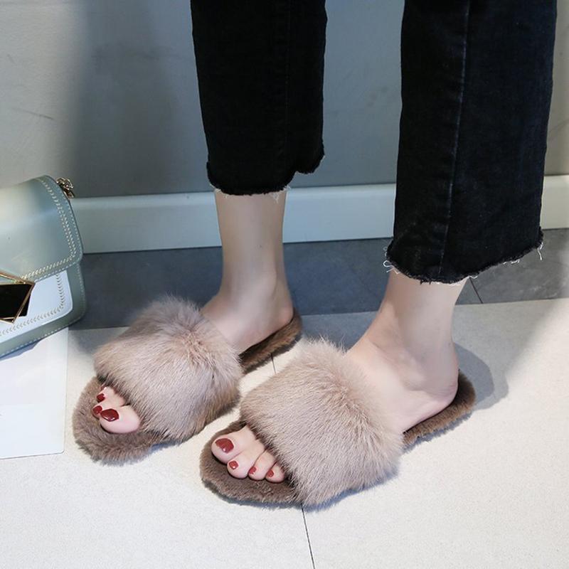2020 новый мех женщины тапочки обувь новых кроликов меховые тапочки домой слайды дамы пушистые крытые шлепки пушистые женские туфли MTX80 F1224