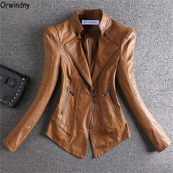Orwindny 2020 Spring Jacket Women Short Motorcycle Clothing Outerwear Stand Collar Zipper Autumn Leather CoatsX1016