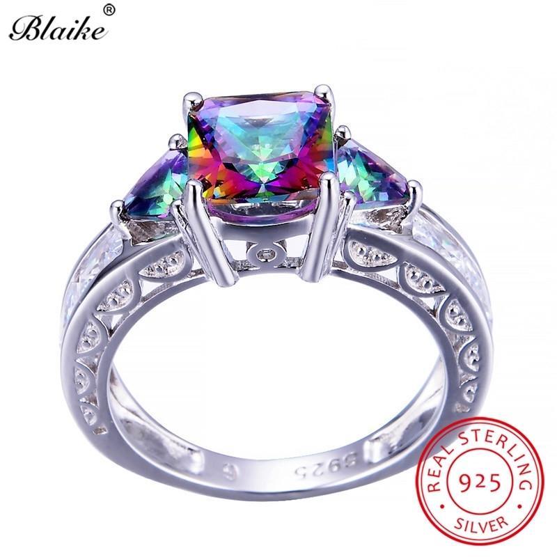 Blaike 100% real 925 Sterling Silver Fogo Místico Topázio Anéis para as Mulheres Homens Praça do arco-íris zircão anel de Birthstone Jóias Presentes 201113