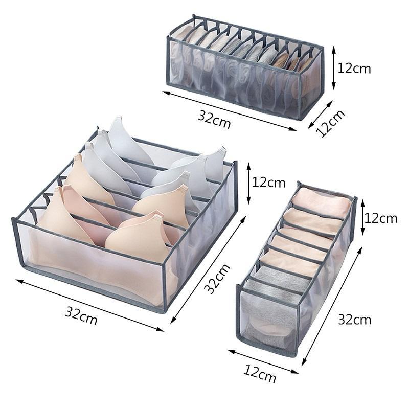 Sütyen Saklama Kutuları İç Giyim Organizatör Çekmece Naylon Bölücü Dolap Organizatör Katlanabilir 6/7/11 Izgaralar Çekmece Düzenleyici HHA2173 Ayrılmış